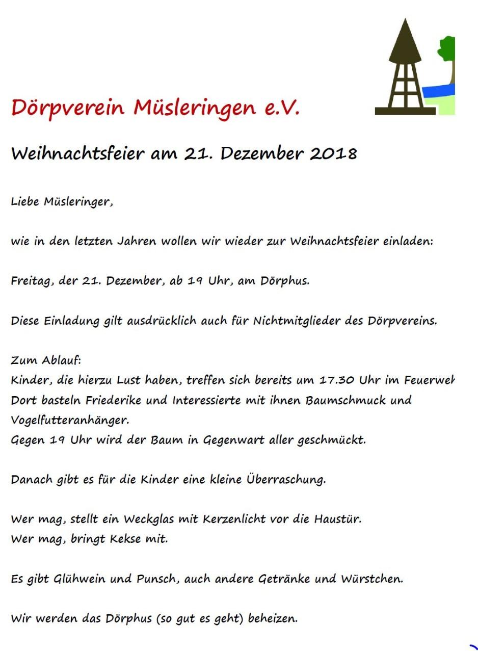 Einladung Weihnachtsfeier Verein.Weihnachtsfeier Dorpverein
